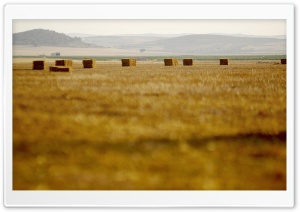 Straw Bales, La Mancha, Spain HD Wide Wallpaper for Widescreen