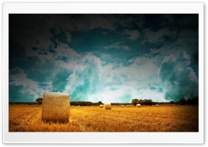 Straw Bales On Farmland With Blue Cloudy Sky HD Wide Wallpaper for Widescreen