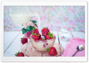 Strawberries and Milk HD Wide Wallpaper for 4K UHD Widescreen desktop & smartphone