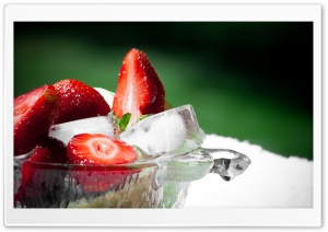 Strawberry And Ice (HD) HD Wide Wallpaper for Widescreen