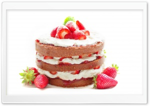 Strawberry Cake HD Wide Wallpaper for Widescreen