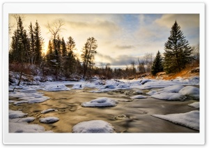 Stream, Winter HD Wide Wallpaper for Widescreen
