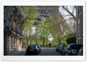 Street Near Eiffel Tower HD Wide Wallpaper for Widescreen