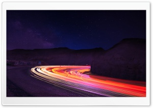 Stunning Light Trails In the Dark HD Wide Wallpaper for Widescreen