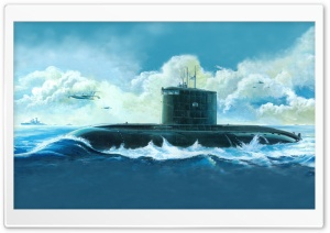 Submarine Painting HD Wide Wallpaper for Widescreen