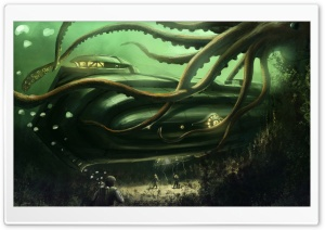 Submarine Underwater Painting HD Wide Wallpaper for Widescreen