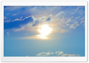 Sun And Blue Clouds Sky HD Wide Wallpaper for 4K UHD Widescreen desktop & smartphone