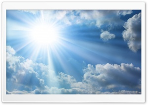 Sun And White Clouds In The Sky HD Wide Wallpaper for 4K UHD Widescreen desktop & smartphone