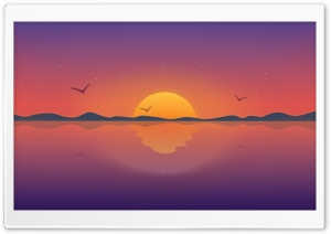 Sun, Lake, Illustration Ultra HD Wallpaper for 4K UHD Widescreen desktop, tablet & smartphone