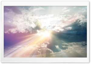 Sun Rays Through The Clouds Colorful HD Wide Wallpaper for Widescreen