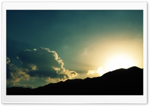 Sun Setting Behind A Hill HD Wide Wallpaper for 4K UHD Widescreen desktop & smartphone