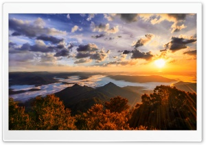Sun Shining Over Mountains HD Wide Wallpaper for Widescreen