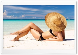 Sunbathing on the Beach HD Wide Wallpaper for Widescreen