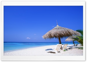 Sunbeds On The Beach Ultra HD Wallpaper for 4K UHD Widescreen desktop, tablet & smartphone