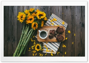 Sunflowers, Coffee Mug, Brownies, Wooden Table HD Wide Wallpaper for 4K UHD Widescreen desktop & smartphone