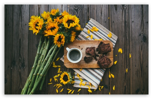 Sunflowers, Coffee Mug, Brownies, Wooden Table ❤ 4K UHD Wallpaper for Wide 16:10 5:3 Widescreen WHXGA WQXGA WUXGA WXGA WGA ; UltraWide 21:9 24:10 ; 4K UHD 16:9 Ultra High Definition 2160p 1440p 1080p 900p 720p ; UHD 16:9 2160p 1440p 1080p 900p 720p ; Standard 4:3 5:4 3:2 Fullscreen UXGA XGA SVGA QSXGA SXGA DVGA HVGA HQVGA ( Apple PowerBook G4 iPhone 4 3G 3GS iPod Touch ) ; Smartphone 16:9 3:2 5:3 2160p 1440p 1080p 900p 720p DVGA HVGA HQVGA ( Apple PowerBook G4 iPhone 4 3G 3GS iPod Touch ) WGA ; Tablet 1:1 ; iPad 1/2/Mini ; Mobile 4:3 5:3 3:2 16:9 5:4 - UXGA XGA SVGA WGA DVGA HVGA HQVGA ( Apple PowerBook G4 iPhone 4 3G 3GS iPod Touch ) 2160p 1440p 1080p 900p 720p QSXGA SXGA ; Dual 4:3 5:4 UXGA XGA SVGA QSXGA SXGA ; Triple 16:10 5:3 16:9 3:2 WHXGA WQXGA WUXGA WXGA WGA 2160p 1440p 1080p 900p 720p DVGA HVGA HQVGA ( Apple PowerBook G4 iPhone 4 3G 3GS iPod Touch ) ;