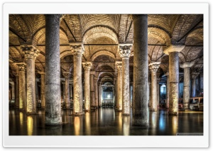 Sunken Palace or Basilica Cistern Istanbul, Turkey HD Wide Wallpaper for Widescreen
