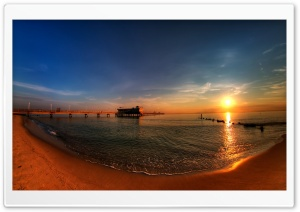 Sunrise   Ocean View Pier HD Wide Wallpaper for Widescreen