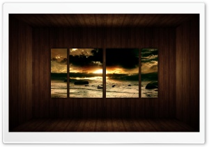 Sunrise Beach Picture   Wood Wall Ultra HD Wallpaper for 4K UHD Widescreen desktop, tablet & smartphone