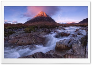 Sunrise, Buachaille Etive Mor Mountain, River Coupall HD Wide Wallpaper for 4K UHD Widescreen desktop & smartphone