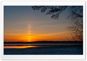 Sunrise, Littoistenjarvi Lake, Kaarina, Finland HD Wide Wallpaper for Widescreen