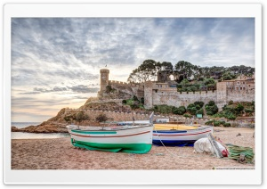 Sunrise on the Beach Tossa de Mar, Catalonia HD Wide Wallpaper for 4K UHD Widescreen desktop & smartphone