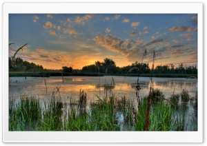 Sunrise Over a Pond in the Minnesota River National Wildlife Refuge HD Wide Wallpaper for Widescreen