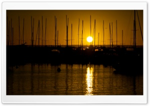 Sunrise Over The Masts Of Matilda Bay HD Wide Wallpaper for Widescreen
