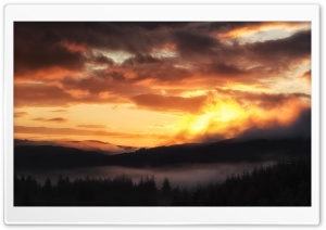 Sunrise over the Trossachs HD Wide Wallpaper for Widescreen