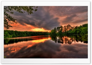 Sunset - River - Forest HD Wide Wallpaper for Widescreen