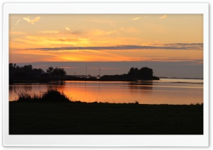 Sunset at the Grevelingen Lake, The Netherlands Ultra HD Wallpaper for 4K UHD Widescreen desktop, tablet & smartphone