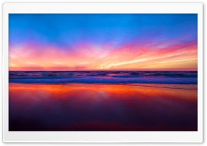 Sunset Beach Reflection HD Wide Wallpaper for Widescreen