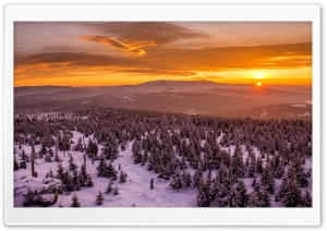 Sunset Behind Mountains Forest Snow Clouds HD Wide Wallpaper for Widescreen