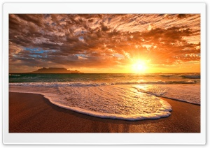 Sunset Foam On The Coast HD Wide Wallpaper for Widescreen