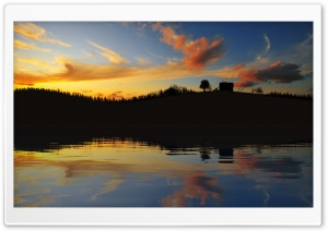 Sunset Glow Beyond A Lake At Twilight HD Wide Wallpaper for Widescreen