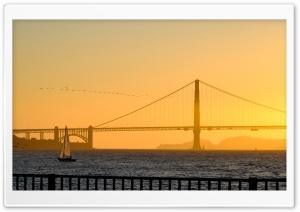 Sunset, Golden Gate Bridge Ultra HD Wallpaper for 4K UHD Widescreen desktop, tablet & smartphone