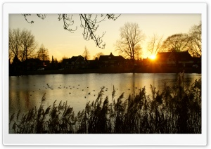 Sunset, Hengelo, Netherlands HD Wide Wallpaper for 4K UHD Widescreen desktop & smartphone