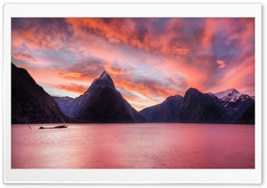 Sunset In Milford Sound HD Wide Wallpaper for 4K UHD Widescreen desktop & smartphone