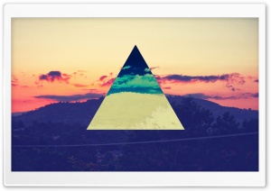 Sunset Inverted Colour Triangle HD Wide Wallpaper for Widescreen