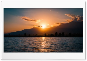 Sunset, Issyk Kul Lake, Kyrgyzstan HD Wide Wallpaper for Widescreen