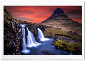 Sunset, Kirkjufellsfoss waterfall, Kirkjufell, Iceland HD Wide Wallpaper for Widescreen