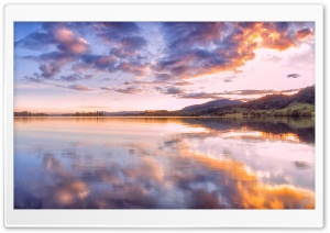 Sunset, Lake of Menteith, Trossachs, Scotland HD Wide Wallpaper for Widescreen