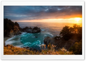 Sunset McWay Falls California HD Wide Wallpaper for Widescreen