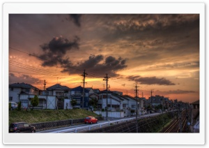 Sunset, Okazaki, Aichi Prefecture, Japan HD Wide Wallpaper for Widescreen