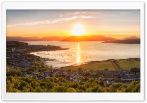 Sunset on Gourock town, Scotland HD Wide Wallpaper for Widescreen