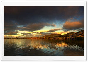 Sunset on the Lake of Menteith HD Wide Wallpaper for 4K UHD Widescreen desktop & smartphone