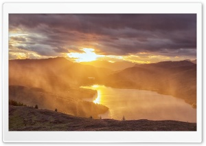 Sunset on the Trossachs, Scotland HD Wide Wallpaper for 4K UHD Widescreen desktop & smartphone