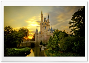 Sunset Over Cinderella Castle HD Wide Wallpaper for Widescreen