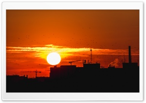 Sunset Over City HD Wide Wallpaper for Widescreen