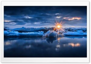 Sunset Over Ice HD Wide Wallpaper for Widescreen